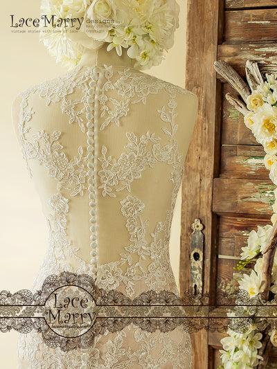 Wedding Dress with Transparent Back and Buttons