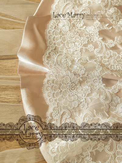 Wedding Dress with Blush Underlay and Ivory Lace