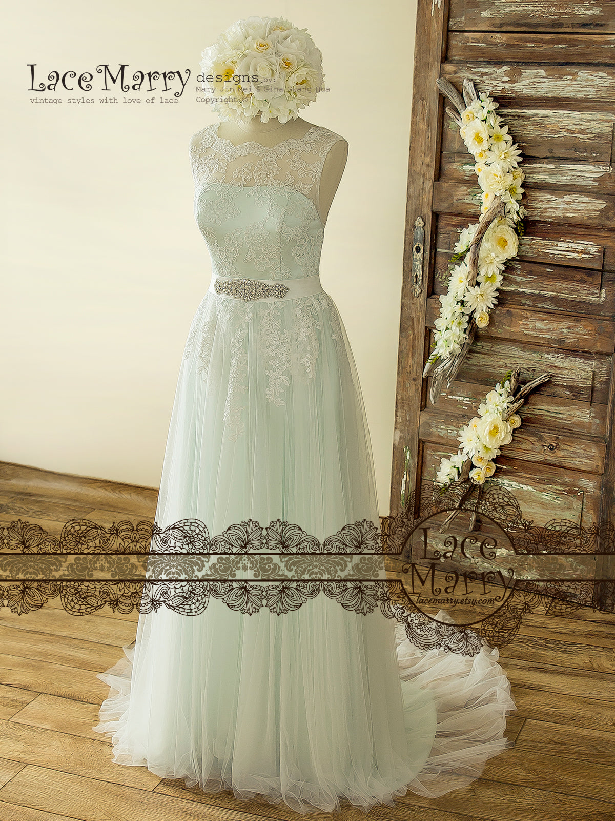 Romantic Mint Color Wedding Dress