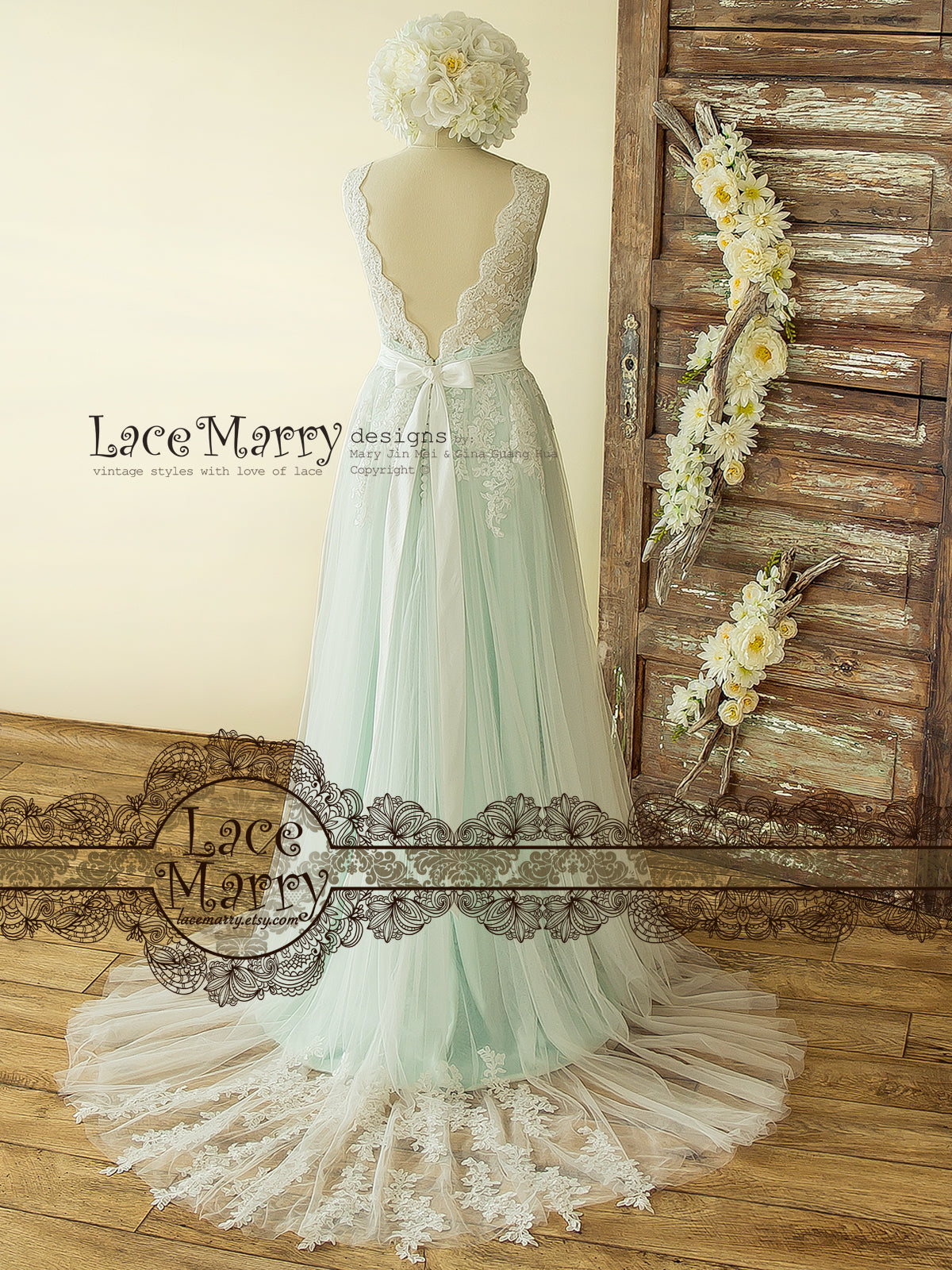 Mint Wedding Dress with Flower Applique Train