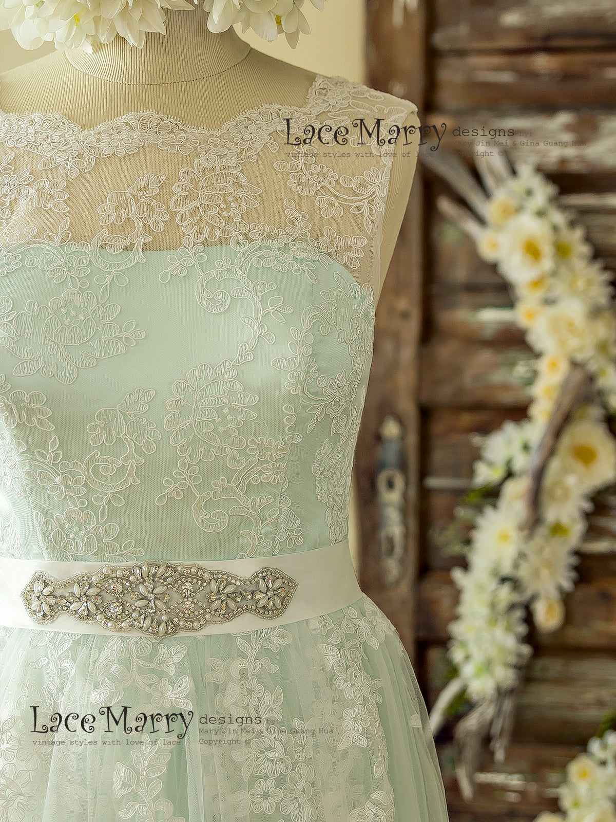 Lace Wedding Dress with Beaded Sash