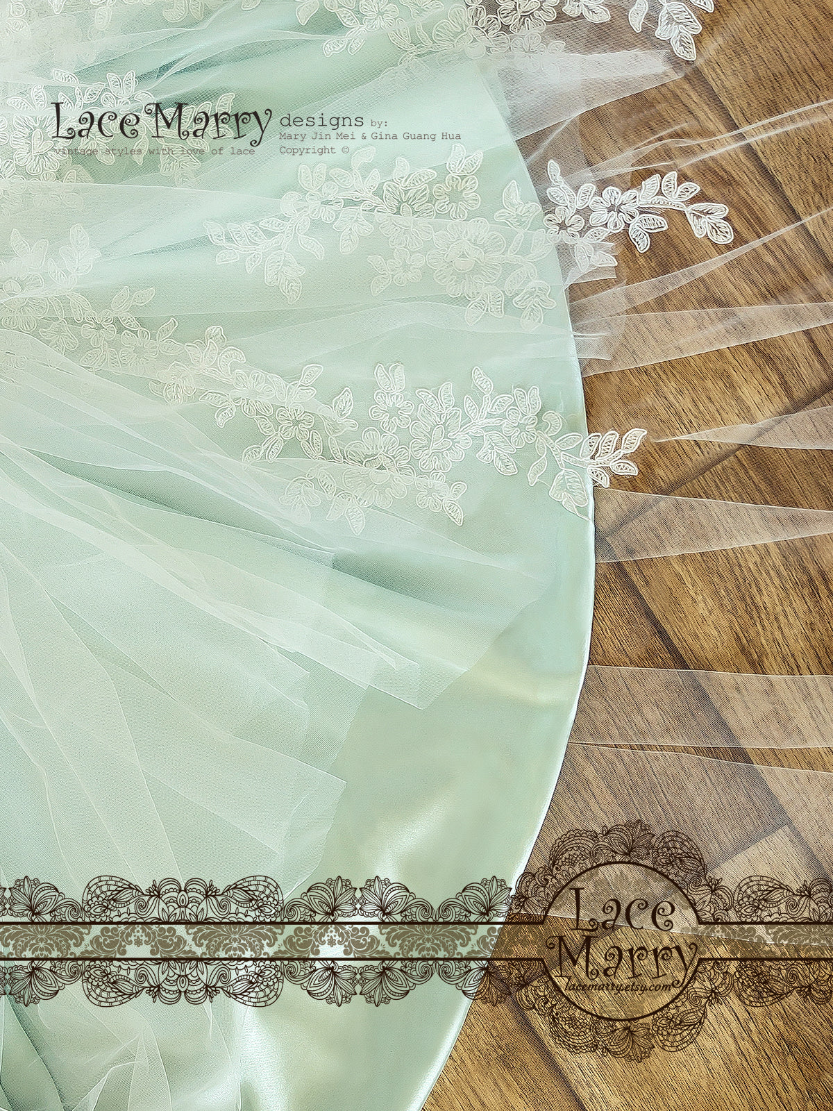 Wedding Dress with Mint Color Silk Satin Underlay