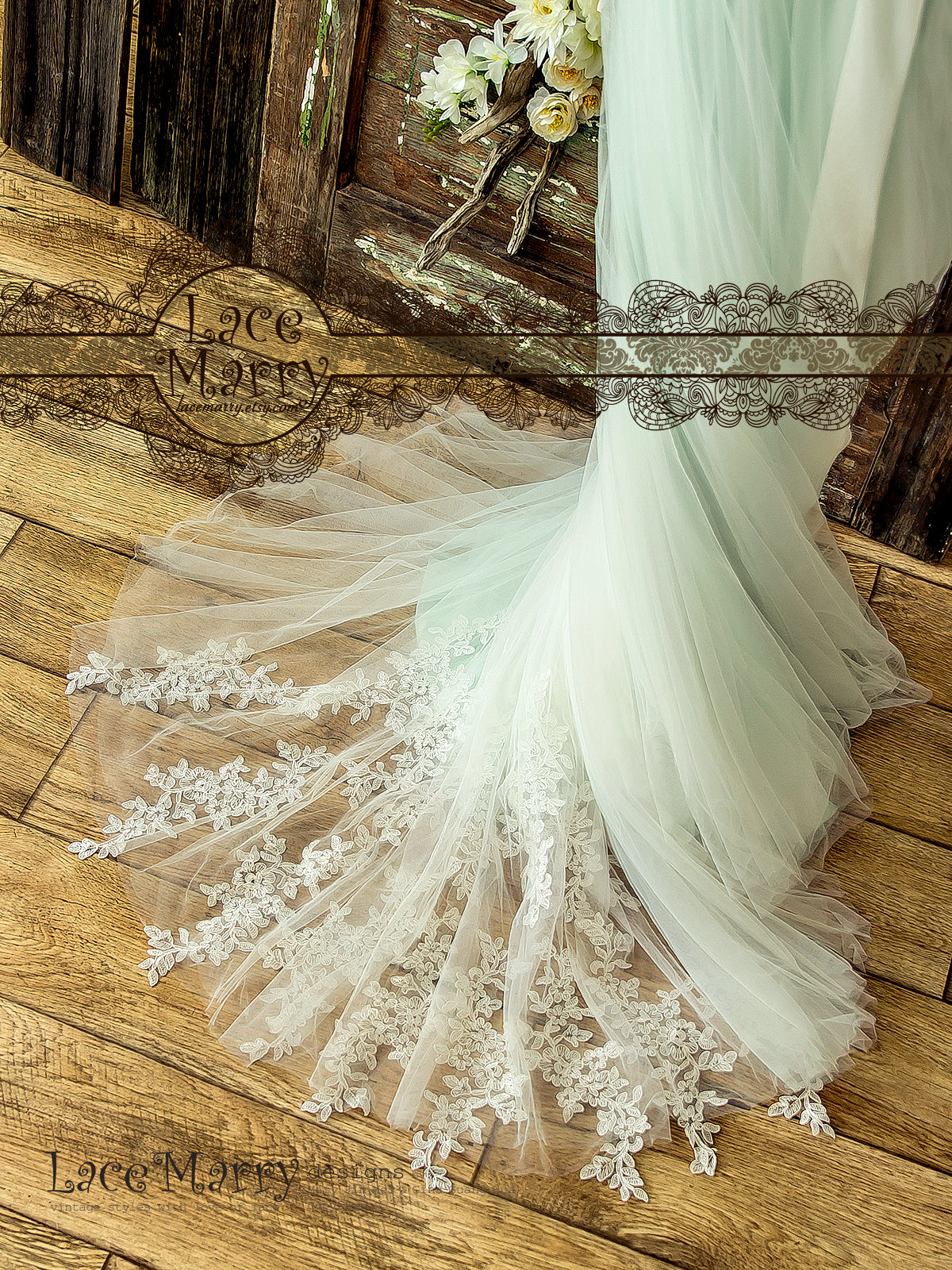 Soft Tulle Wedding Dress in Mint Color