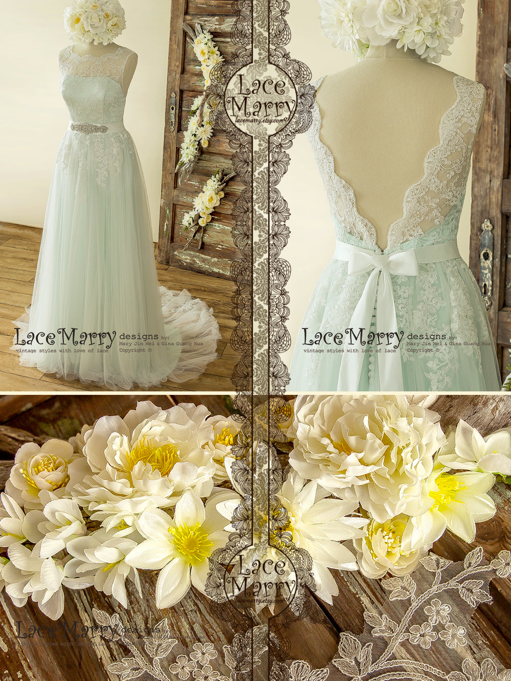 Gorgeous Mint Lace Wedding Dress with Romantic Train