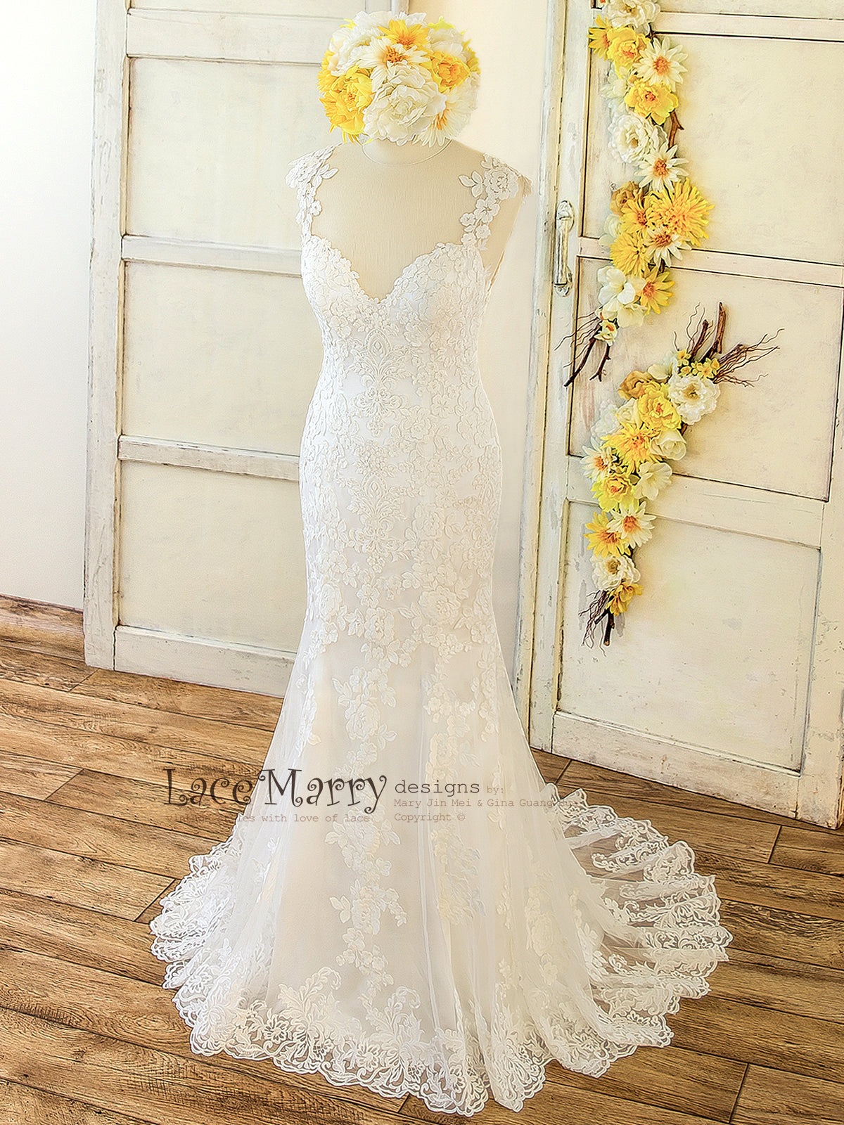 Lace Applique Wedding Dress with Deep Sweetheart Neckline