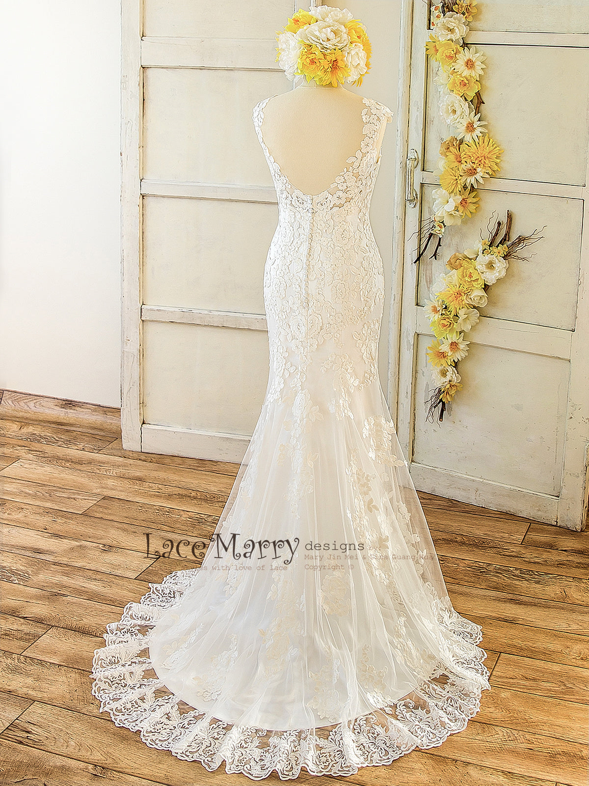 b6c49989fe Beautiful Lace Applique Ivory Wedding Dress  Soft Lace Wedding Dress with Open  Back and Buttons ...