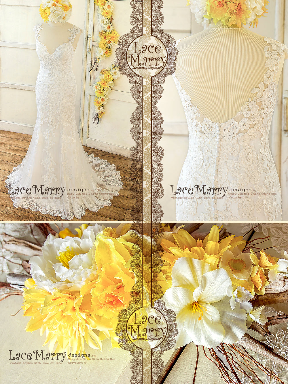Beautiful Lace Applique Wedding Dress from Light Fabrics