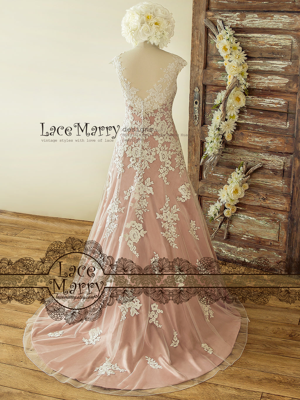 Rose Silk Boho Wedding Dress
