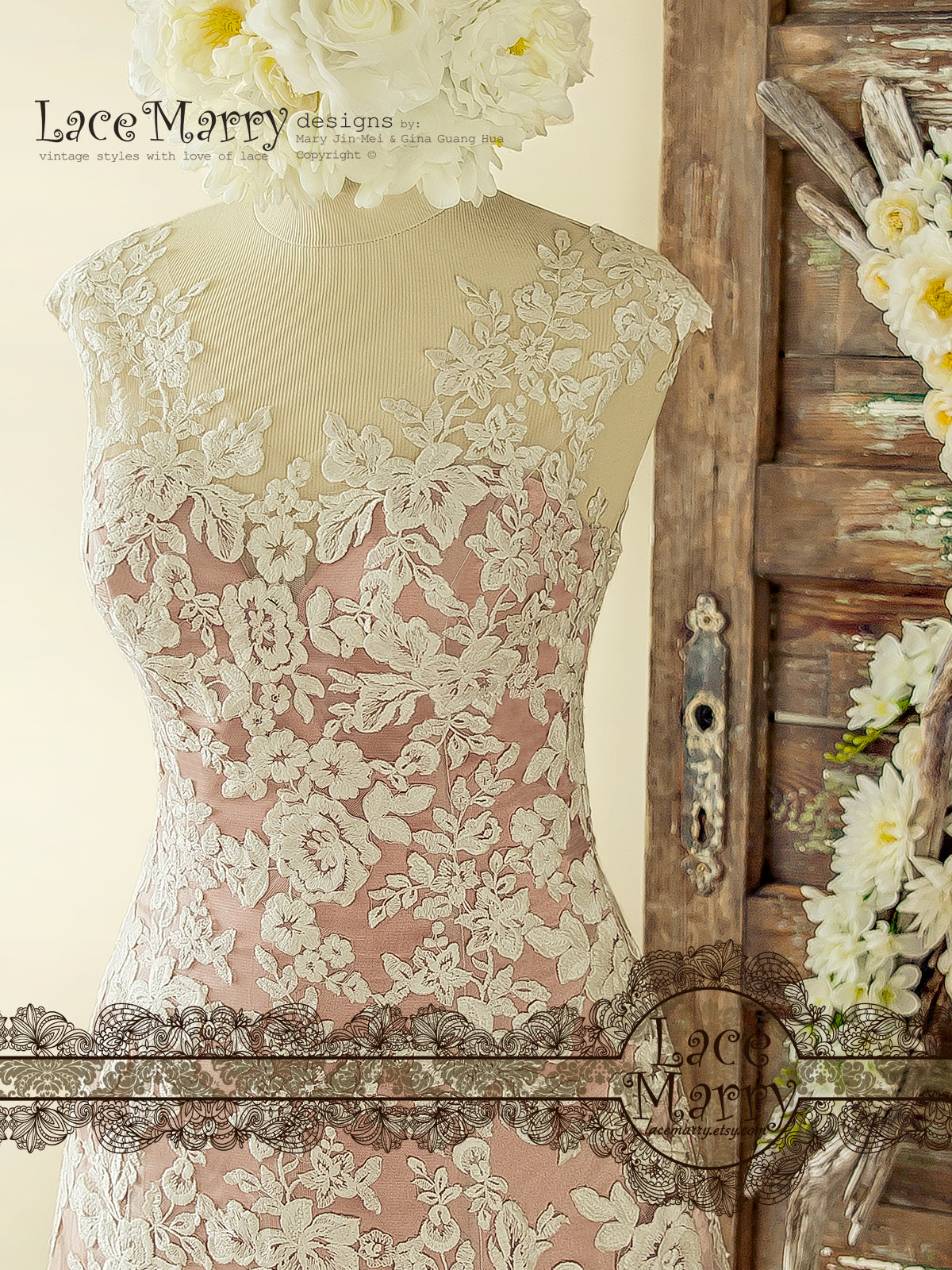 Rose Silk Wedding Dress with Soft Ivory Flower Applique in A Line ...