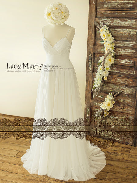 Gorgeous Boho Ivory Wedding Dress
