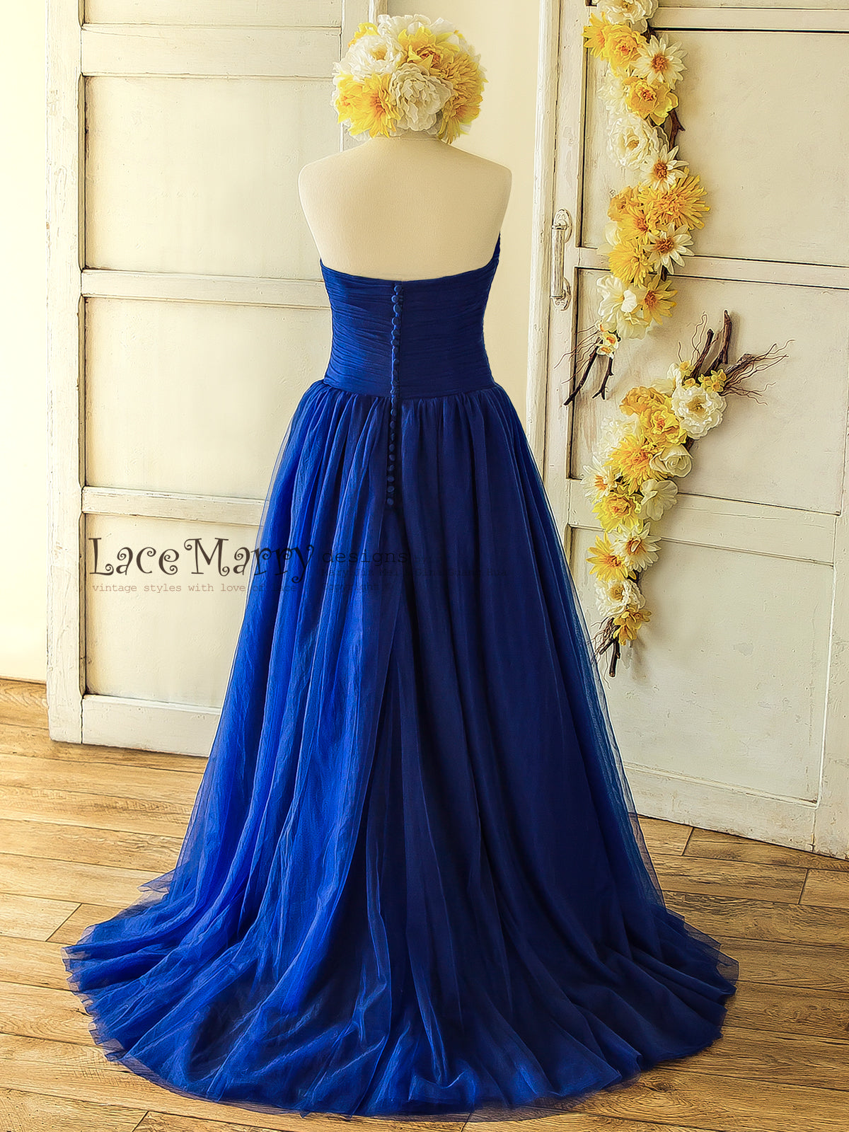 5c9e164b8ed Royal Blue Wedding Dress  Wedding Dress with Straight Cut Back with Buttons  ...