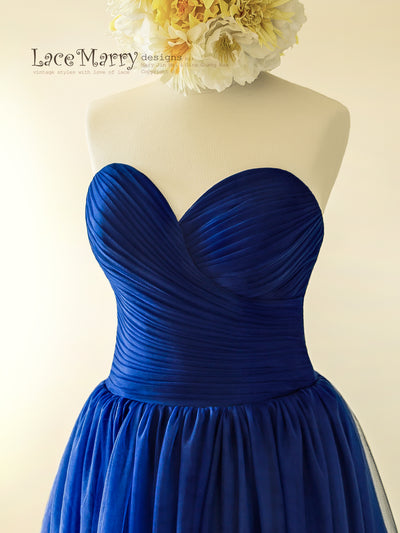 Strapless Sweetheart Neckline Royal Blue Wedding Dress