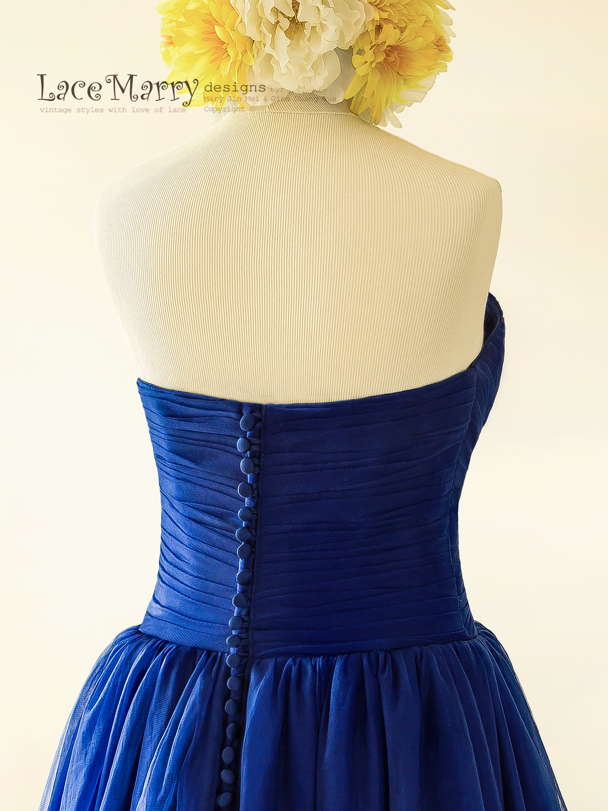 Royal Blue Wedding Dress With Buttons On The Back