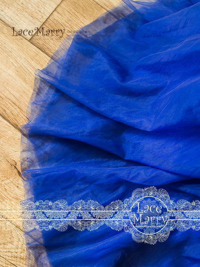 Royale Blue Wedding Dress with Small Sweep Train