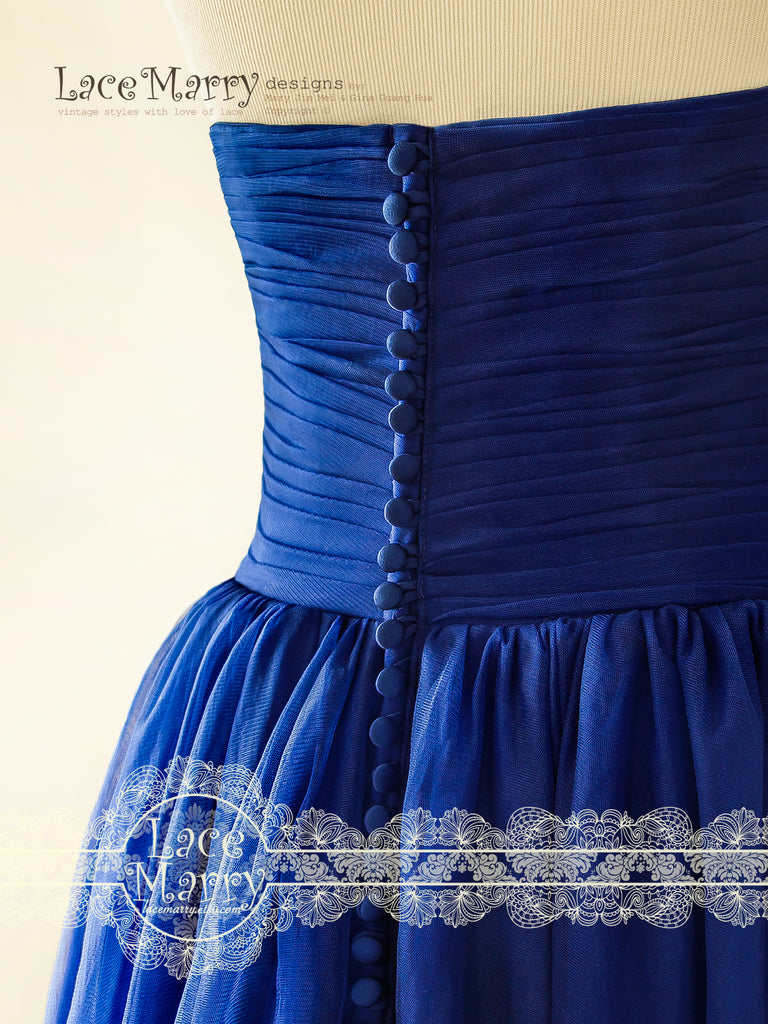 8207386b40a ... Strapless Royale Blue Wedding Dress with Multiple Tulle Layer skirt. ◅   ▻