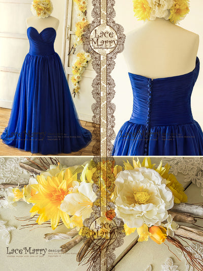 Strapless Royale Blue Wedding Dress with Multiple Tulle Layer skirt