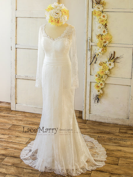Soft French Lace Wedding Dress