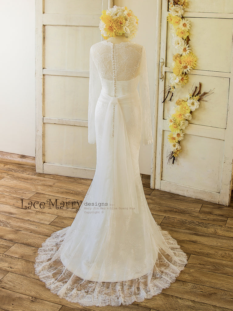 French Lace Wedding Dress with Long Sleeves, V Cut Neckline ...