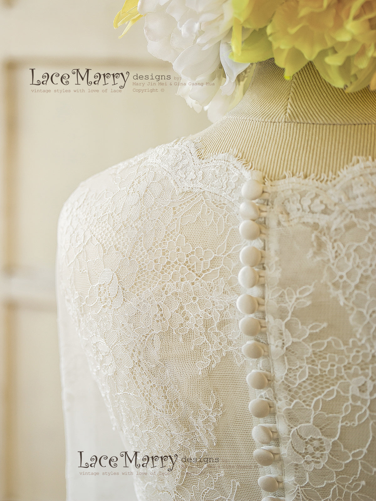 Lace Wedding Dress with Full Lace Back and Buttons