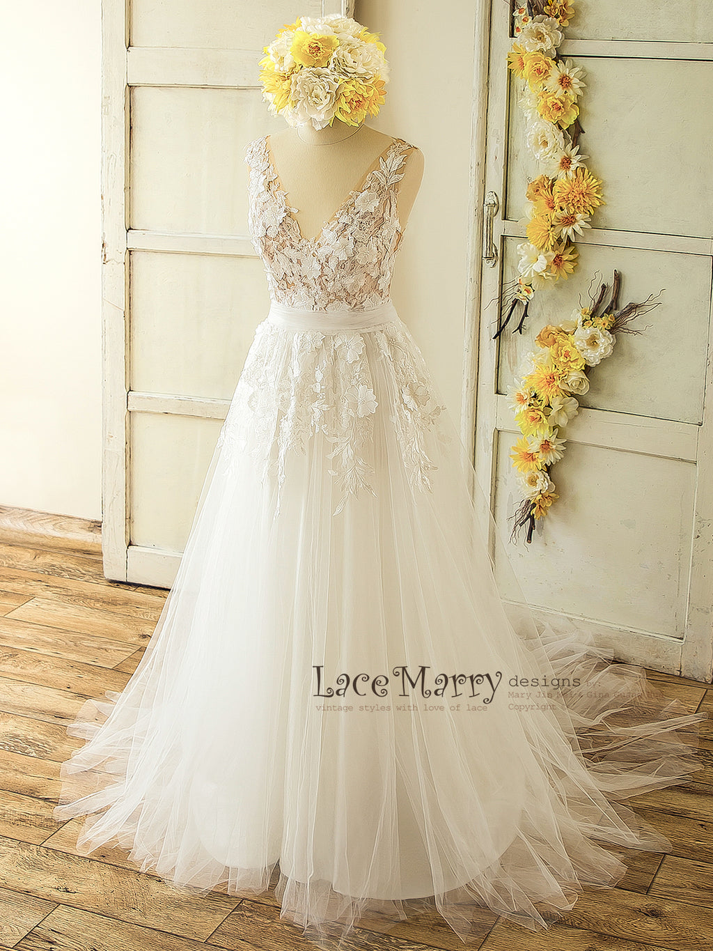 Custom made vintage style lace wedding dresses by lacemarry 3d lace boho wedding dress ombrellifo Gallery