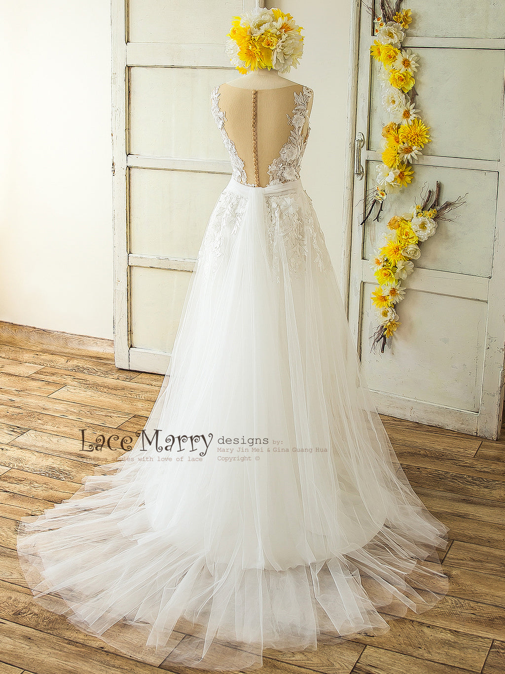 3D Lace Boho Wedding Dress