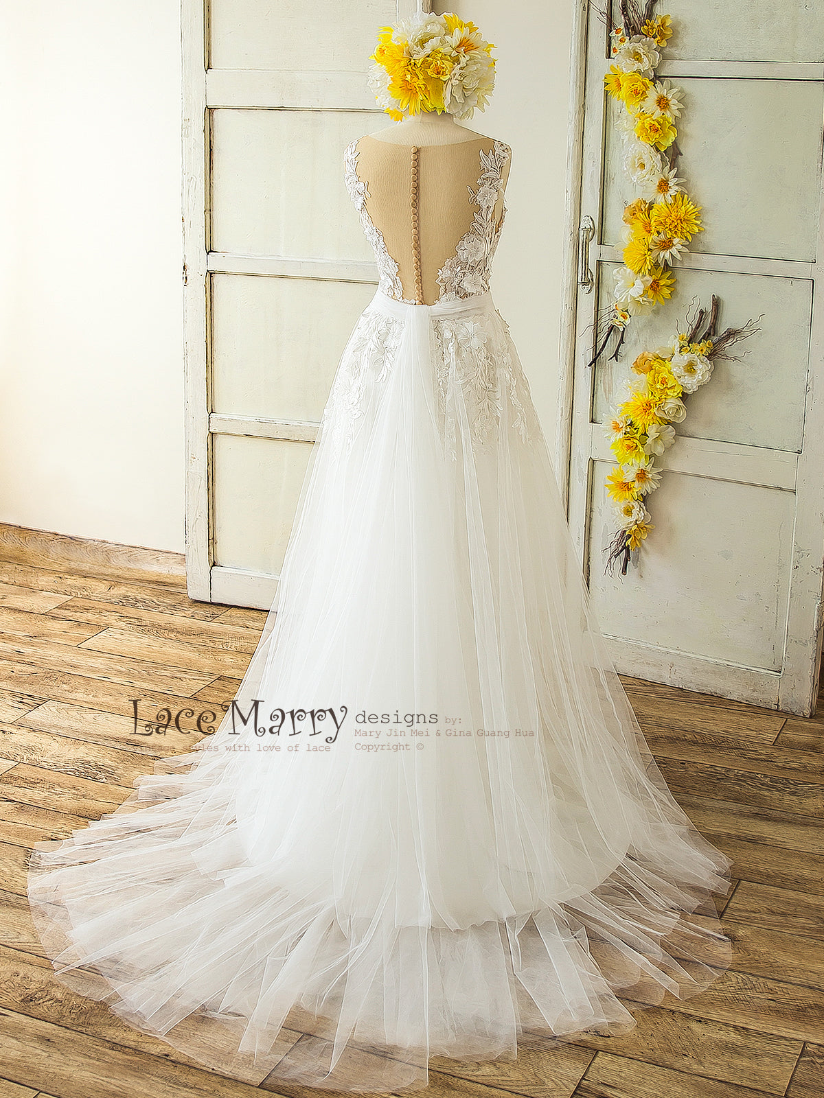 4701a1c08d3ed 3D Lace Boho Wedding Dress with Sheer Nude Top