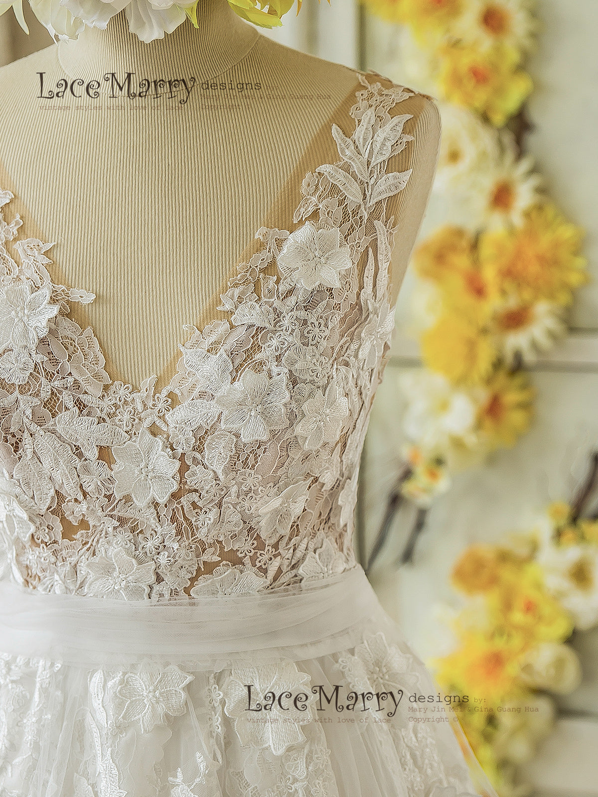 3D Lace Boho Wedding Dress with Sheer Nude Top in V-Cut shape and ...