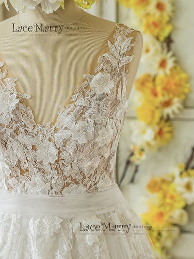 Wedding Dress with 3D Lace