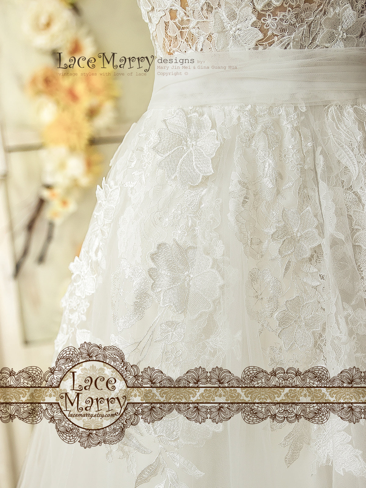 Airy Tulle Skirt Wedding Dress