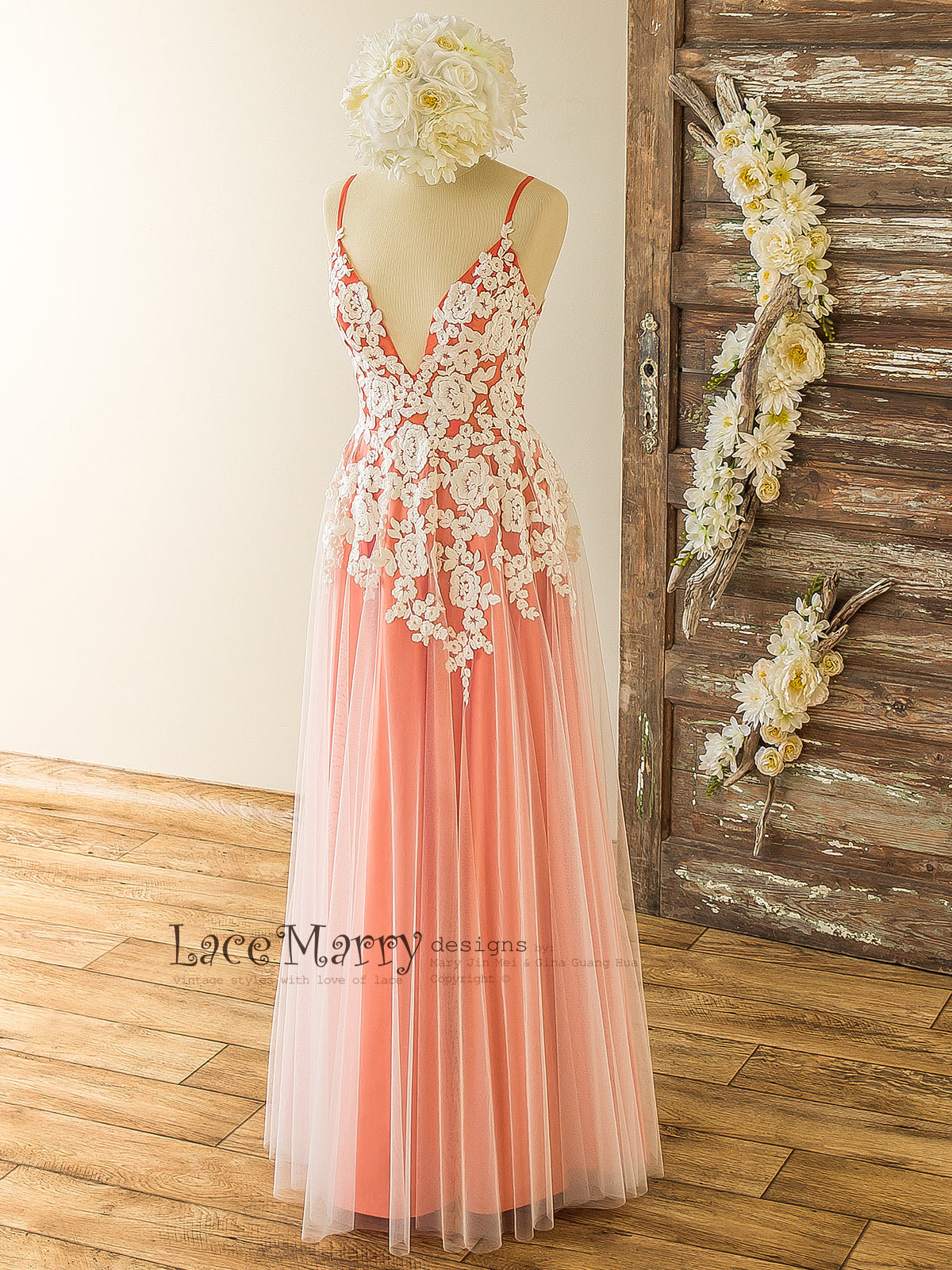 Stunning Colorful Bridesmaid Dress with Ivory Floral Design