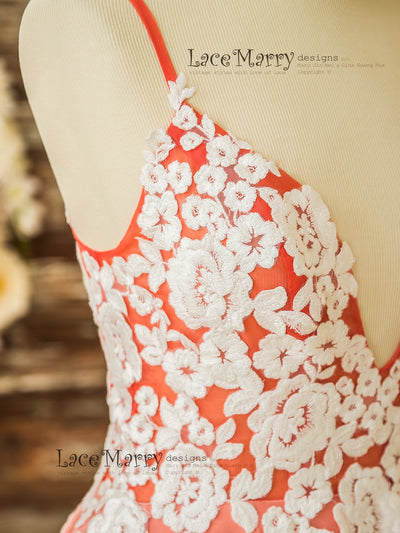 Flower Applique Wedding Dress in Coral Color