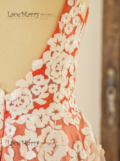 Ivory Flower Appliques on Coral Color Underlay Wedding Dress
