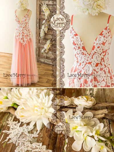 Floor Length Coral Color Wedding Dress from Flower Appliques