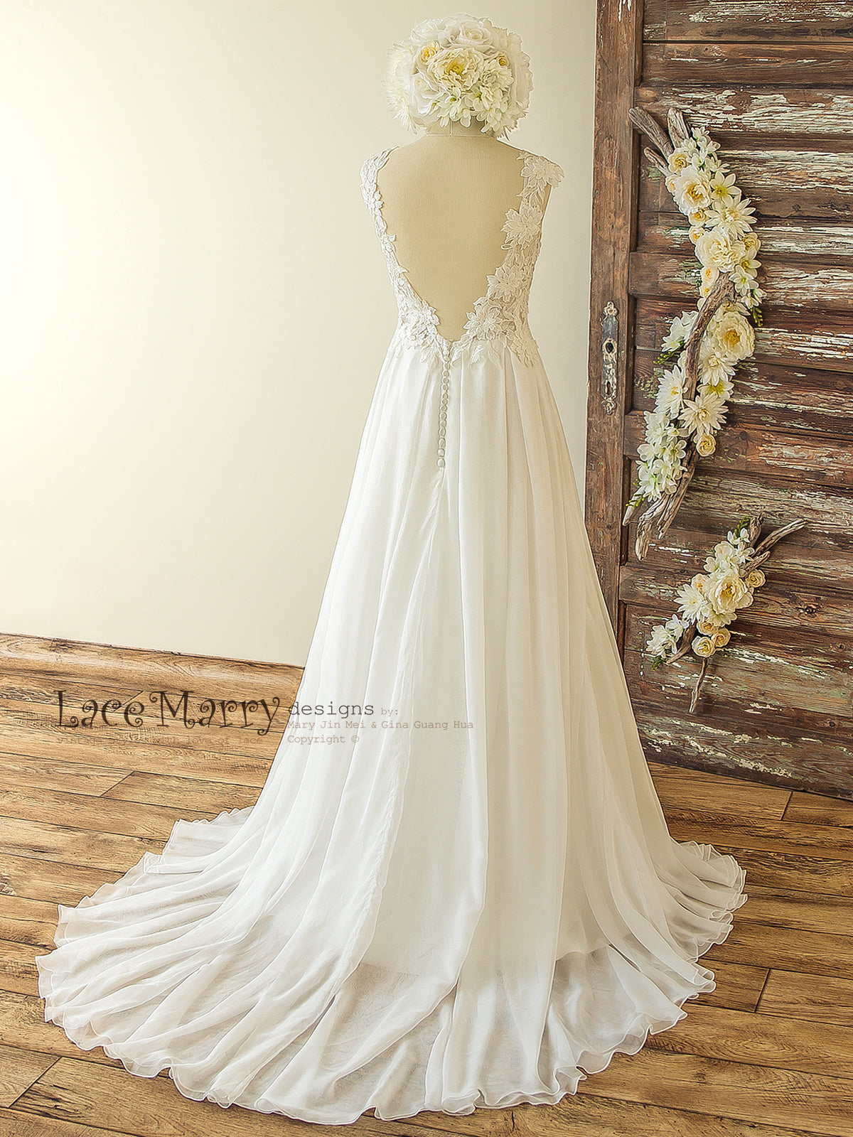Wedding Dress with Deep V Cut Back and Buttons