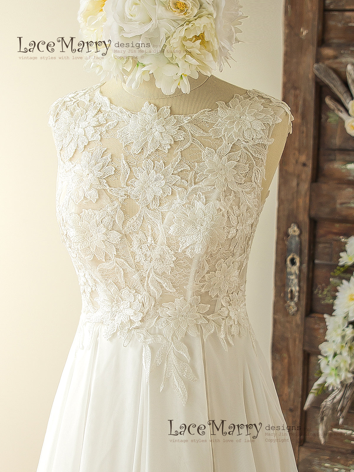 Romantic 3D Lace Wedding Dress in Bohemian Style with Sheer ...