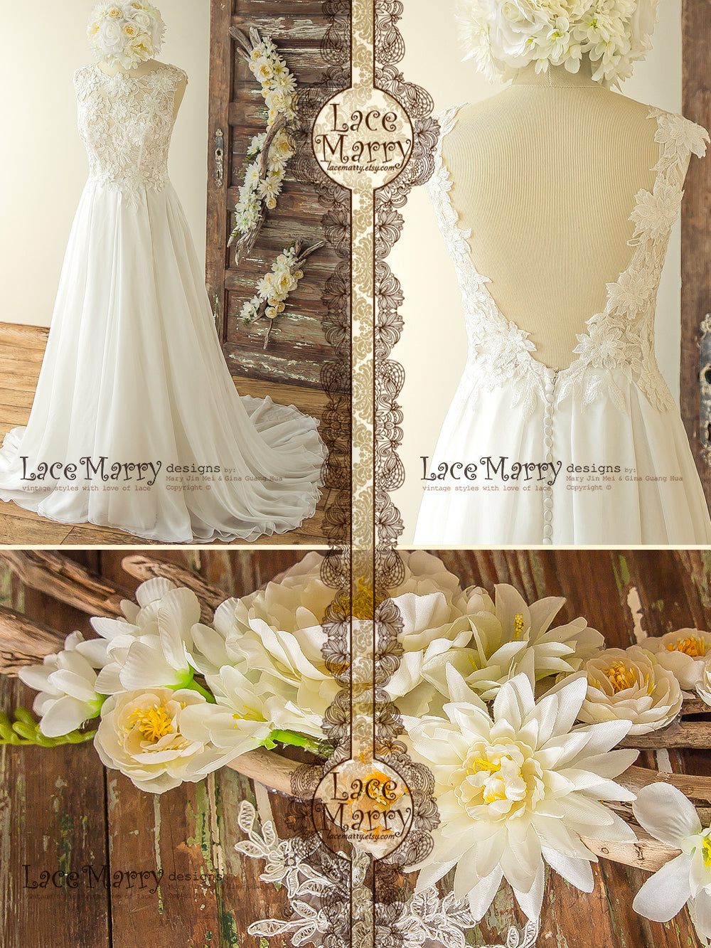 A Line Boho Wedding Dress with 3D Flower Appliques and Lace Pieces