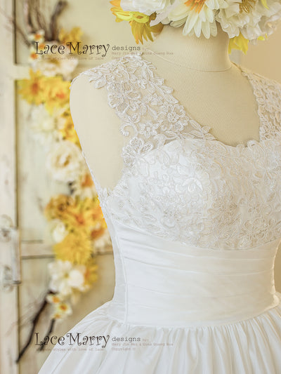 Short Wedding Dress with Wide Ruched Belt on Waist