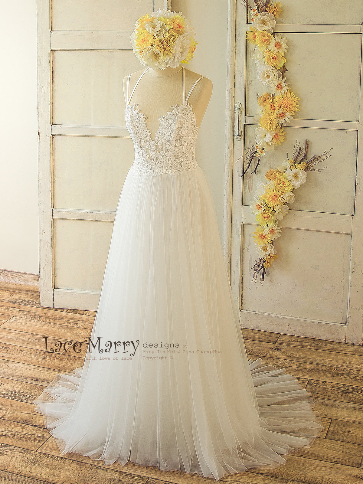 Wedding Dress with Cross Design Straps
