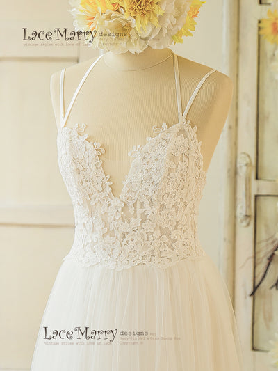 Wedding Dress with Sheer Bodice and Deep Sexy Neckline Cut