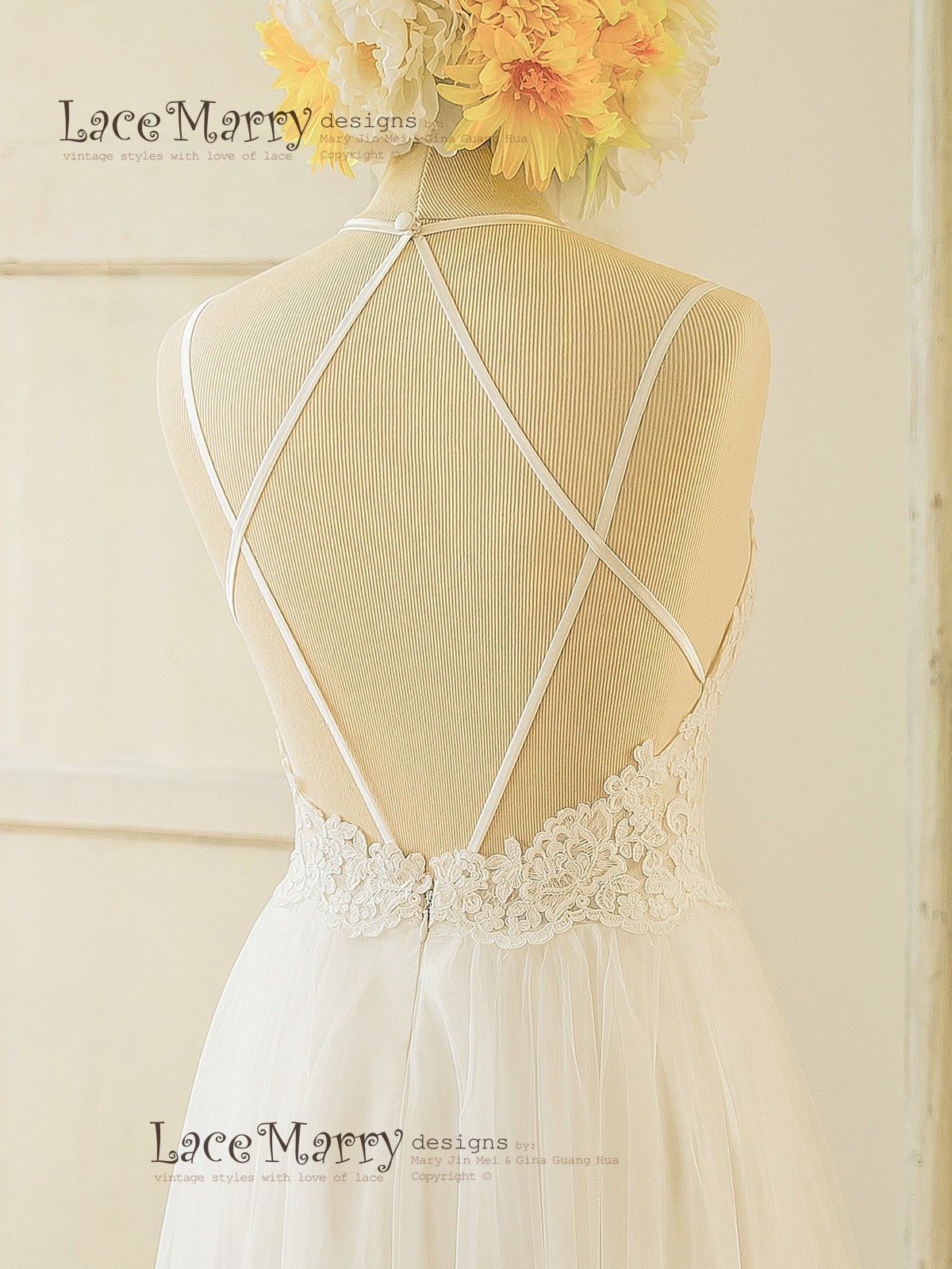 Elegant Boho Wedding Dress with Open Back