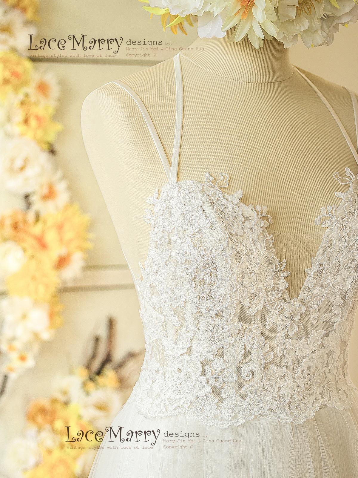 Boho Wedding Dress with Cross Design Straps