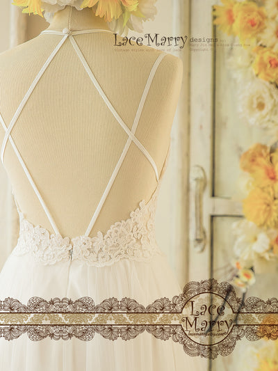 Bohemian Lace Wedding Dress with Open Back Design