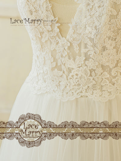 Sheer Bodice Boho Wedding Dress