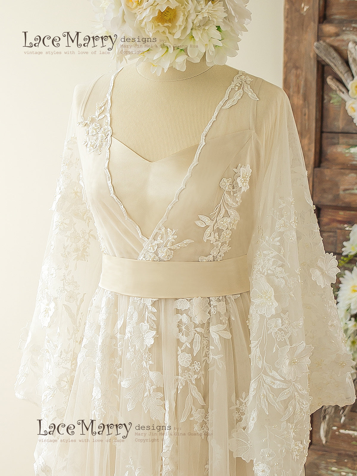Bohemian Lace Wedding Dress With Ivory 3d Applique In Kaftan Style Lacemarry