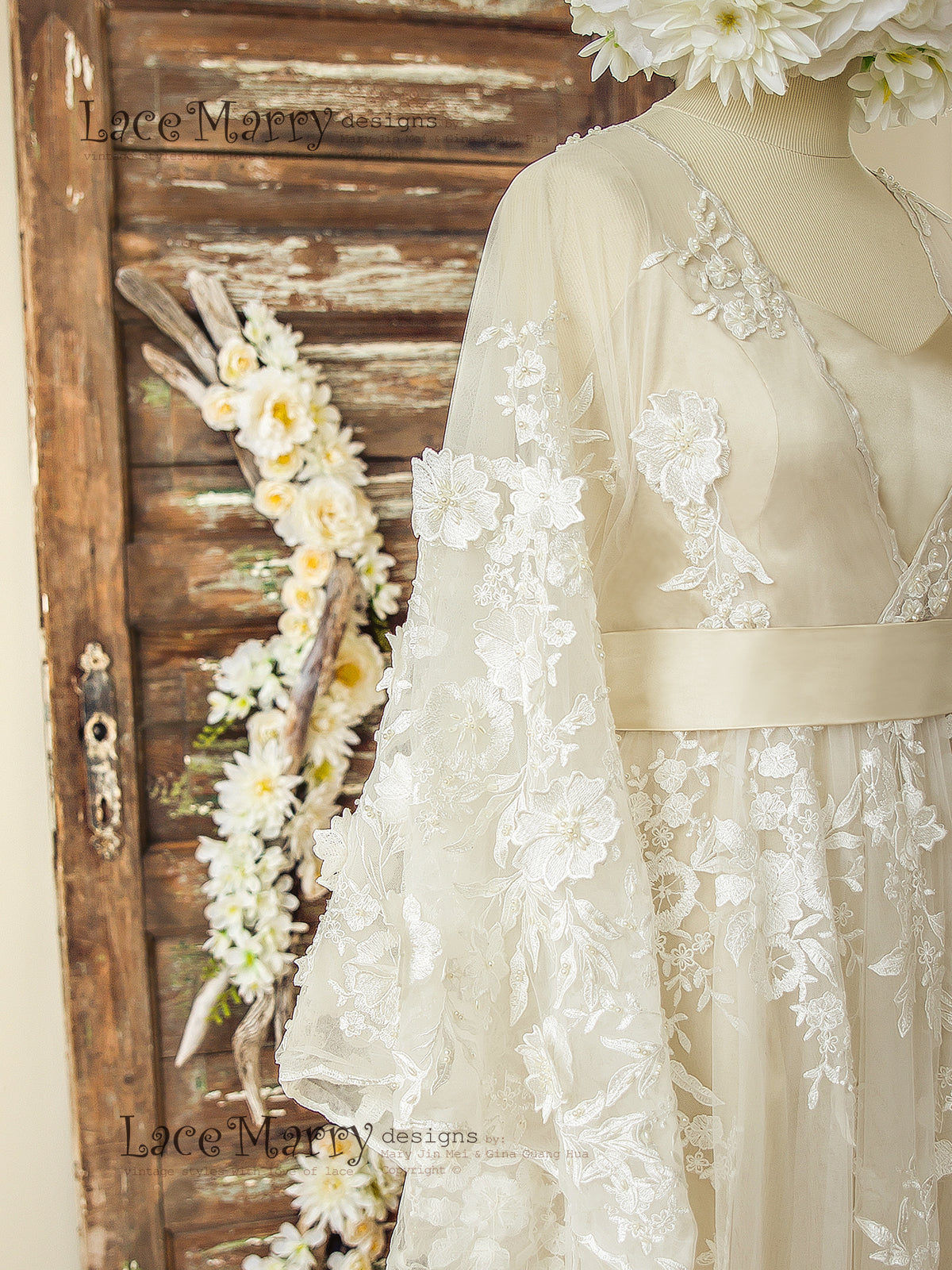 Bohemian Lace Wedding Dress with Ivory 3D Appliqué in Kaftan Style ...