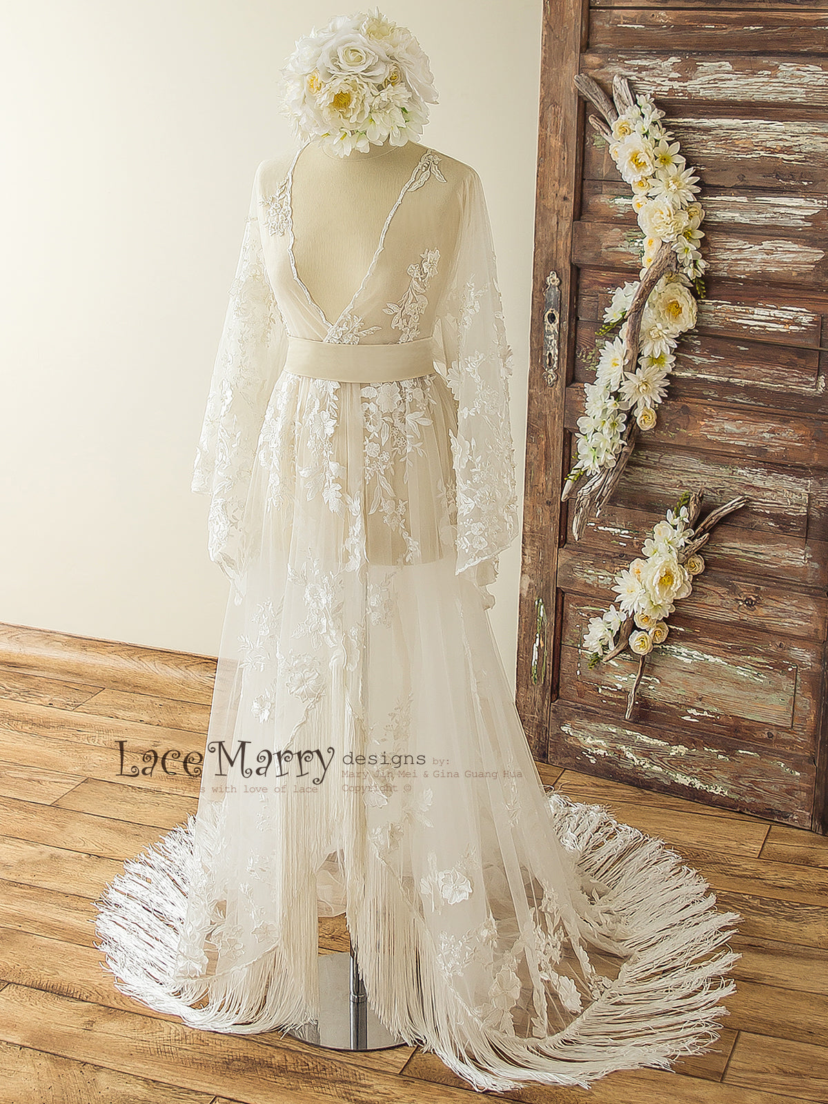Lace Overgown Bohemian Wedding Dress