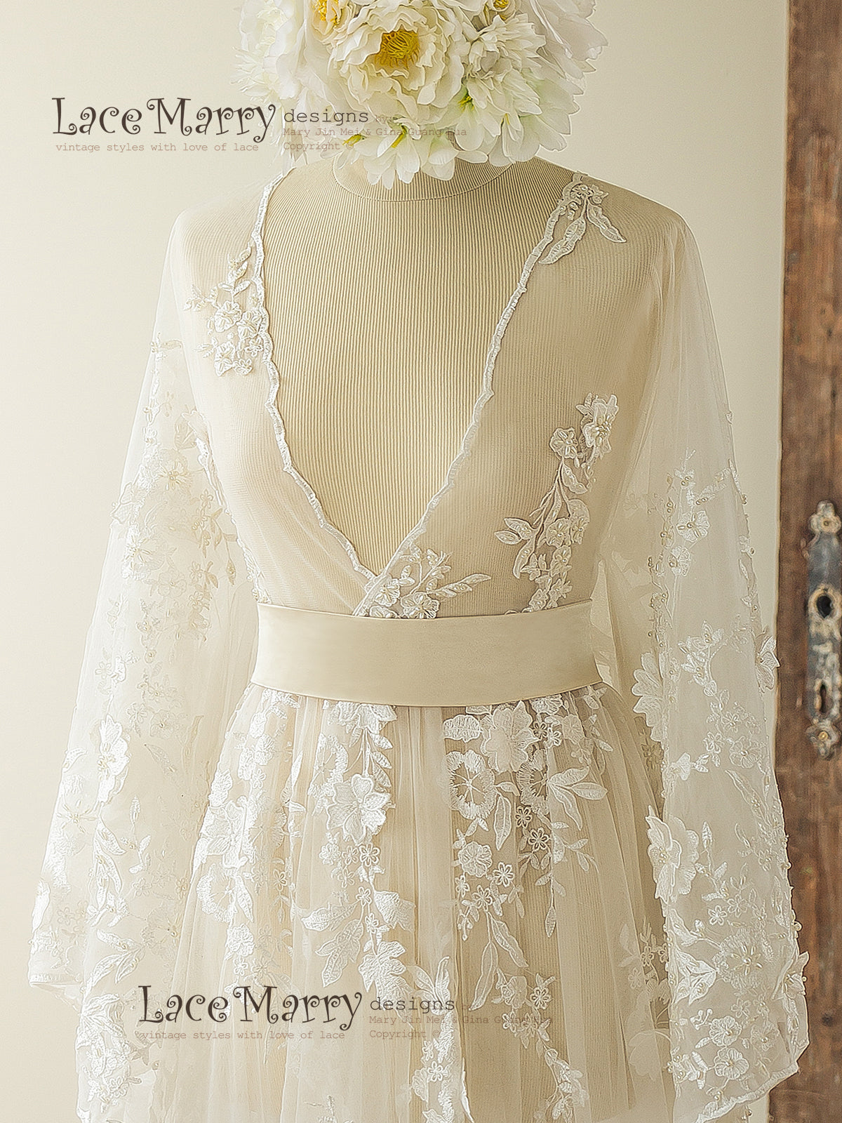 Lace Overgown with Kimono Sleeves Wedding Dress