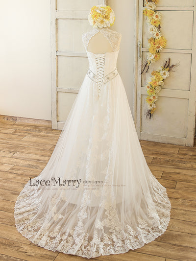 Lace Wedding Dress with Lace Straps and Train