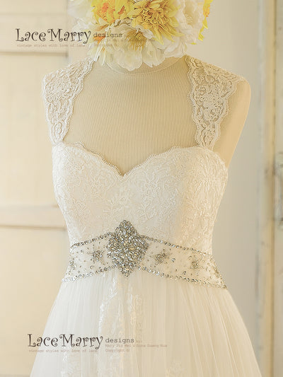 Wedding Dress with Sewn on Hand Beaded Belt
