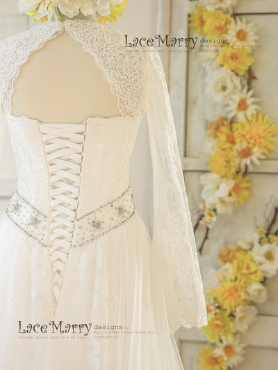 Removable Lace Bolero with Lace Wedding Dress
